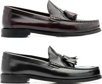 Base London CHIME Mens Leather Tassel Moccasin MOD Loafers Hi Shine Black/Bordo