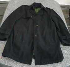 Drykorn Herren Top eleganter schwarzer Mantel Gr 52 80% Wool, grünes Steppfutter
