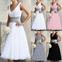 Womens V-Neck Sleeveless Party Dress Wedding Bridesmaid Formal Prom Midi Dresses