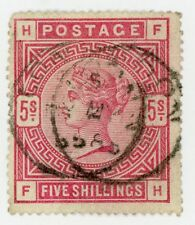 1884 Great Britain Stamp #108 , 5sh car rose, Used VF H