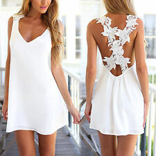 Womens Beach Short Mini Dress Summer Party Tops Casual Beachwear Bikini Cover Up