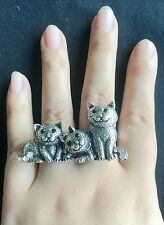 2pcs fashion Vintage Style Bronze Leopard Family Two double finger Rings women