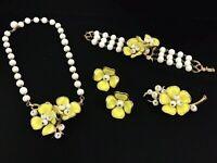 Vintage Yellow Crown Trifari Camellia Jewelry: Bracelet Necklace Brooch Earrings