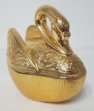 """New Large Golden Swan Turkish Mantel Piece Figurine w/ Top - Gold Color 7""""x7""""x4"""""""