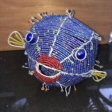 Handcrafted Wire BEADED  COLORFUL FISH Sculpture Figurine~SITS OR HANGS