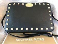 NWT MICHAEL KORS LEATHER SAFFIANO STUD LARGE EW CROSSBODY BAG IN BLACK/GOLD-HDWR