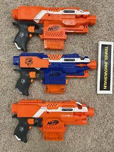 Lot Of 3 NERF N-Strike Elite Semi Automatic Stryfe Blaster Toy Guns Works Well