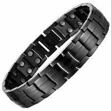 Gun Metal Pure 100% Titanium Magnetic Therapy Bracelet Pain Relief Arthritis