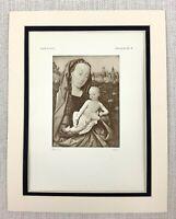 1927 Antico Stampa Olandese Vecchio Master Vergine E Bambino Neonato Gesù Cristo