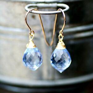 Briolette Tanzanite Earrings 14k Gold Filled December Birthstone 24 Anniversary