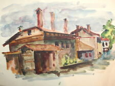1979 Impressionist landscape watercolor drawing country house