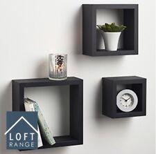 NUOVA gamma di Loft Nero Cubo Scaffali Set di 3 accessori ideale per la visualizzazione