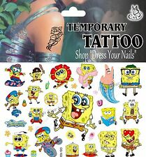 """SpongeBob Squarepant""  Nickelodeon Cartoon Temp Body Tattoo Children's - CG-103"