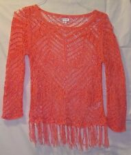 X-S/P Coral loose crocheted/ tasseled bottom-BoHo  Xhilaration Large Womens Top