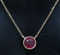 """14K Yellow Gold 1.50ct Round Cut Red Ruby Bezeled Solitaire Chain Necklace-18"""""""