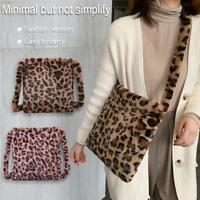 Fashion Leopard Crossbody Handbag Women Plush Casual Shoulder Messenger Bag Tote