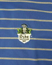 Peter Millar Summer Comfort Blue Stripe Duke Golf Club Performance Polo Shirt L