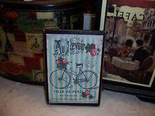 French vintage wall decor Au Revoir Paris bike sign block shabby French