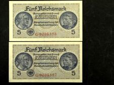 Germany WWII 2 x 5 Reichsmark Banknotes Set Sequentially Numbers , XF