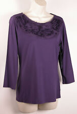 Anne Klein Womens Knit Top S Small Purple Soutache Embroidery 3/4 Sleeve New $69