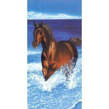 Serviette de plage Drap de bain Cheval marron dans la mer beach towel coton