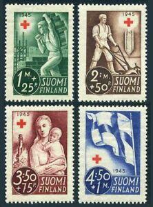 Finland B65-B68,MNH.Michel 291-294. Red Cross-1945.Mason,Farmer plowing,Flag