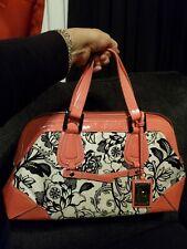 KORET Vintage Ladies Tapestry Leather Arm Purse pink Floral Print Mirror leopard