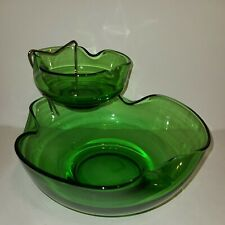 Vintage Anchor Hocking Spearmint Green Glass 3 pc Chip and Dip Set