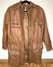 Women's Together Leather Field Military Jacket Vintage 70's-80's Brown Pockets S
