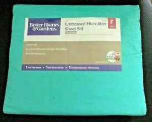 Better Homes and  Gardens Embossed Microfiber Full Sheet Set Aqua Ocean
