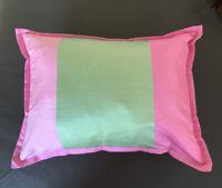 POTTERY BARN KIDS Accent PILLOW 12X16 Pink Green Silk Shantung Pillow Insert New