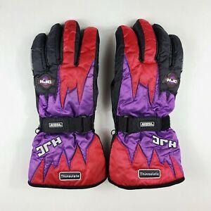 VTG HJC Snowmobile Gloves Reissa Thinsulate Black Purple Red Men's XXL 2XL 90s