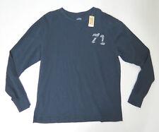 Cotton Shirt 71  Large Cremieux Mens Navy Crewneck Long Sleeve