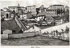 Biella: Panorama. Grande Veduta. Piemonte. Stampa Antica + Passepartout. 1891