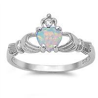 Lab Opal CZ Claddagh Ring  - 925 Sterling Silver - Irish Celtic Heart Love NEW
