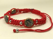Virgin of Guadalupe Red Macrame Bracelet for Happiness Prosperity and Religious