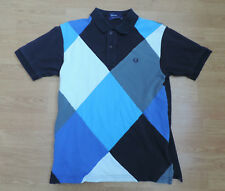 """FRED PERRY Pique Polo Shirt Black Blue Harlequin Small S 36""""  H2-B13"""