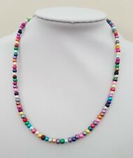 BEAUTIFUL NEW HANDMADE MULTI-COLOURED PEARL BEAD NECKLACE AND BRACELET SET S19