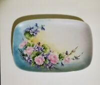 """Antique Platter dresser tray hand painted, signed  France 10.5""""L x 7"""" W"""