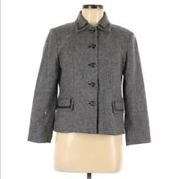 Pendleton Women Tweed Jacket Size 8P Lambswool Silk Leather Trim Dressy Buttons