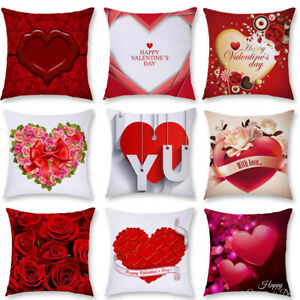 Valentine's Day Red Rose Flower Heart Print Pillow Case Cushion Cover Home Decor