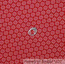 BonEful Fabric FQ Cotton Flannel Red White S STRIPE Candy Xmas Calico Peppermint