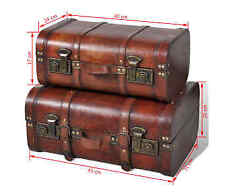 Wooden Treasure Chest 2 pcs Vintage Storage Trunk Box Brown Large and Small Both