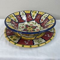 Pier 1 Vallarta Large Serving Bowl & Platter Colorful China Dinnerware Set LOT 2