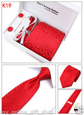 Mens Tie Set Silk Dress Tie Cufflinks Hanky Tie Clip Gift Box Red Flower Pattern