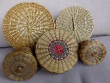 Vintage Woven Indian Baskets Or Bowls With Lids Lot Of 5 Different Sizes