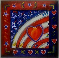 US Flag Arch Abstract w/Heart Pop Art Artist Signed Mira Wood Painted Frame COA
