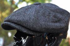 Men's Classic Tweed Newsboy Cap100% Wool Herringbone Cabbie Golf Hat Gray Ns2355