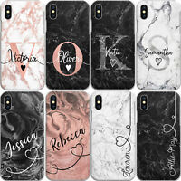 PERSONALISED MARBLE PHONE CASE HARD COVER FOR SAMSUNG A-CUSTOM INITIAL/TEXT/NAME