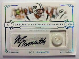 2007 Playoff National Treasures Game Worn Jersey Button Auto : Joe Namath #1/1